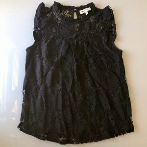 Monteau Black Relaxed Fit Lace Top
